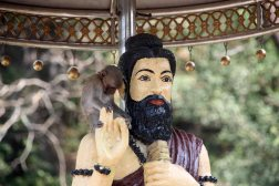 Hindu statue with monkey, near Mudon